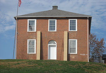 Image of the original Meigs County Courthouse built in the village of Chester