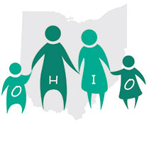Image of a character representations of four people (a man, a woman, a boy, and a girl) holding hands in front of a grey silhouette of the state of Ohio