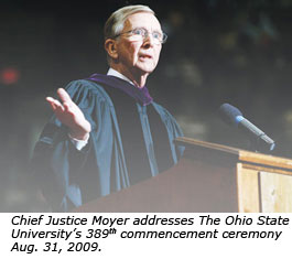 Chief Justice Moyer addresses The Ohio State University's 389th commencement ceremony Aug. 31, 2009.