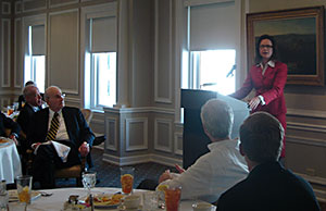 Image of Justice Sharon L. Kennedy addressing members of the Federalist Society of Cincinnati.