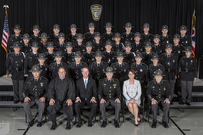 Image of Ohio Supreme Court Justice Sharon L. Kennedy along with members of the 154th Ohio State Highway Patrol Academy Cadet Class