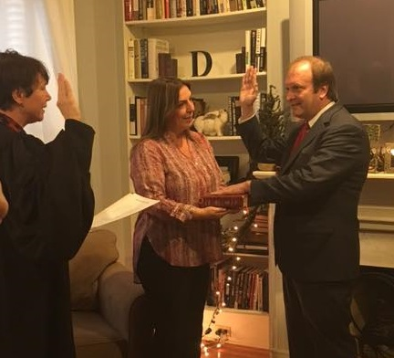 Image of Ohio Supreme Court Justice Sharon L. Kennedy swearing-in Justice R. Patrick DeWine