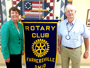 Image of Ohio Supreme Court Justice Sharon L. Kennedy and Pastor Mark Williams of the Farmersville Rotary Club