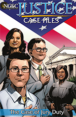 Image of a comic book-like cover showing two men and one woman standing in front of a courthouse next to a female judge with their right hands over their hearts