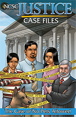 Image of a comic book-like cover showing a mother, father, sad young boy, and his dog standing in front of a courthouse. There is yellow caution tape in front of them that reads 'Do Not Cross Language Barrier.' A male judge is cutting the caution tape with a pair of scissors.