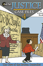 Image of a comic book-like cover showing a female lawyer standing in front of a giant copy of the preamble to the United States Constitution and a young boy holding a game controller, both are in a courtroom