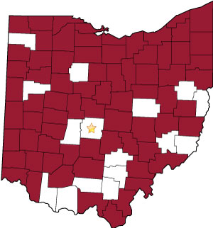 Ohio counties that have hosted off-site court