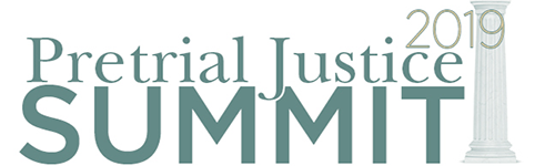 Image of a marble column with the words 'Pretrial Justice Summit 2019'